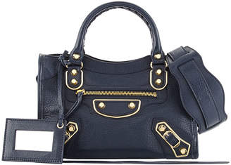 Balenciaga Metallic Edge Mini City Leather Shoulder Bag