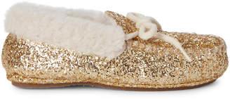 Polo Ralph Lauren Kids Girls) Gold Allister Glitter Moccasins