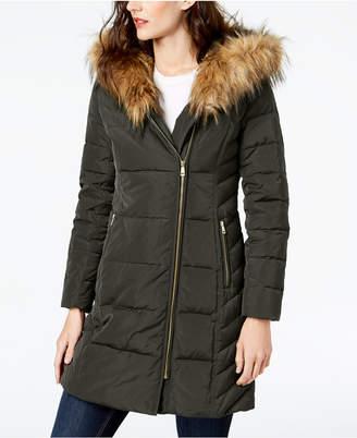 Cole Haan (コール ハーン) - Cole Haan Faux-Fur-Trim Asymmetrical Puffer Coat