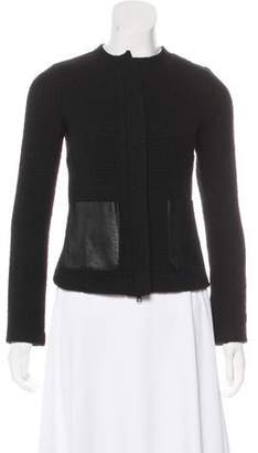 Vince Wool Leather-Accented Blazer