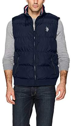 U.S. Polo Assn. Mens Big and Tall Quilted Vest with Corduroy Collar