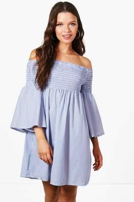 boohoo Katie Stripe Off Shoulder Sun Dress $36 thestylecure.com