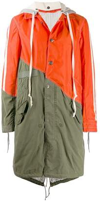 Greg Lauren two-tone hooded rain coat