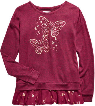 Epic Threads Big Girls Butterfly-Print Layered-Look Top