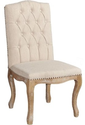 Linon Portsmouth Linen Square Back Chair, Brown, Set of 2, Assembled