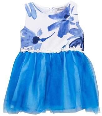 Dorissa Kathy Floral Satin Bodice & Tulle Bottom Dress (Baby Girls)