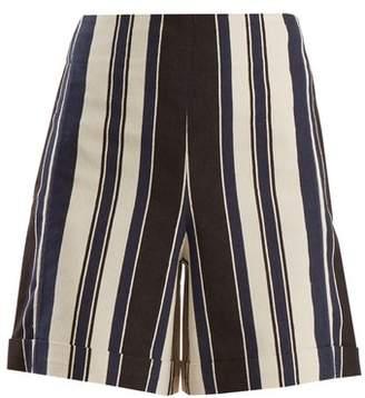 Zeus + Dione - Petra Striped Silk Blend Shorts - Womens - White Multi