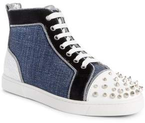 Christian Louboutin Lou Degra Spiked High Top Sneaker