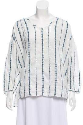 Nili Lotan Embroidered Button-Up Blouse