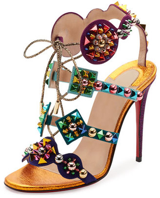 Christian Louboutin Kaleikita Spiked Lace-Up 100mm Red Sole Sandal, Version Gold $1,295 thestylecure.com