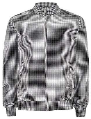 Topman Mens Black And White Gingham Harrington Jacket