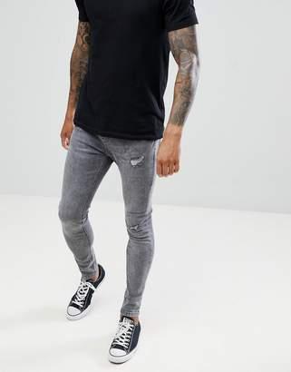 Bershka Super Skinny Fit Jeans In Gray
