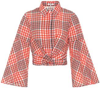 Ganni Checked cotton-blend blouse