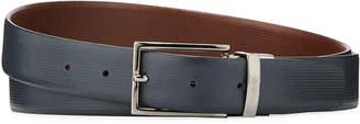 Armani Collezioni Thin-Buckle Smooth Leather Belt