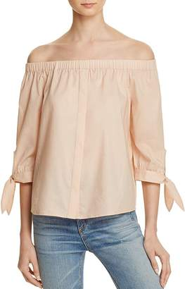 Whistles Tie-Detail Bardot Top - 100% Exclusive $100 thestylecure.com