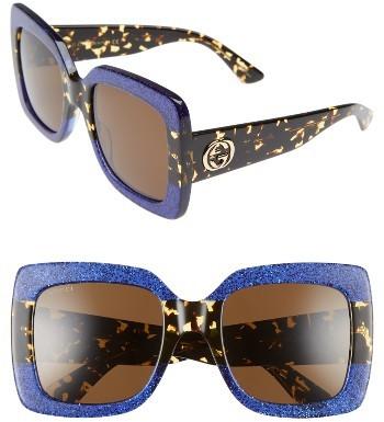 Women's Gucci 55Mm Square Sunglasses - Blue Havana/ Brown
