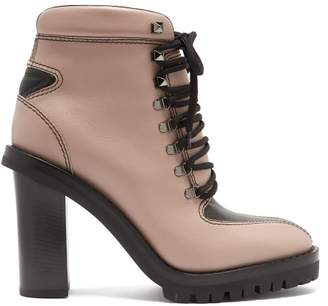 Valentino Trekking Lace Up Leather Boots - Womens - Black Nude