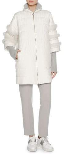 Agnona Agnona Puffer Jacket with Fox Fur Trim, White