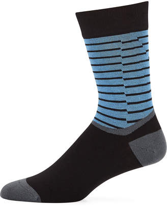 Maceoo Men's Stripe-Cuff Bamboo-Knit Socks
