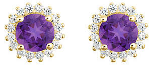 QVC 14K Gold Round Gemstone Halo Stud Earrings