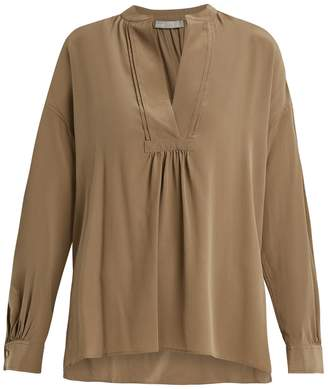 Vince Long-sleeved sandwashed silk-crepe blouse