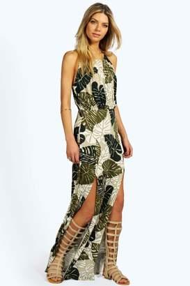 boohoo Sophia Tropical Split Front Maxi Dress