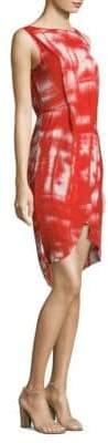 BCBGMAXAZRIA Printed Wrap High-Lo Sheath Dress