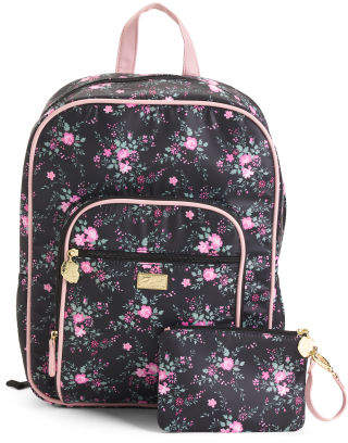 Floral Print Backpack With Removable Wristlet