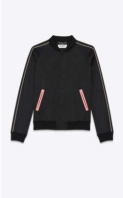 f72b25c269 Saint Laurent Satin Varsity Jacket With Raglan Sleeves And A Disco Print On  Back