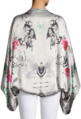 Express Casual Apparel Co Hammered Silk Bell-Sleeve Kimono