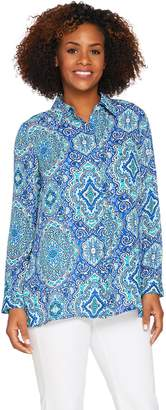 Joan Rivers Classics Collection Joan Rivers Moroccan Print Silky Blouse w/ Long Sleeves