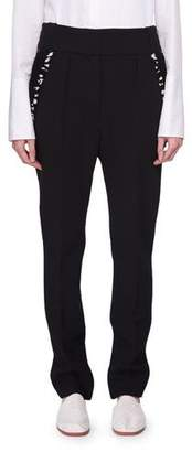 The Row Searl Mid-Rise Wool Tapered-Leg Pants with Sequined Trim