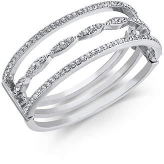 INC International Concepts I.N.C. Silver-Tone Crystal Triple-Row Bangle Bracelet, Created for Macy's