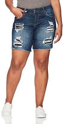 Silver Jeans Co. Women's Plus Size Sam Mid Rise Boyfriend Bermuda Shorts