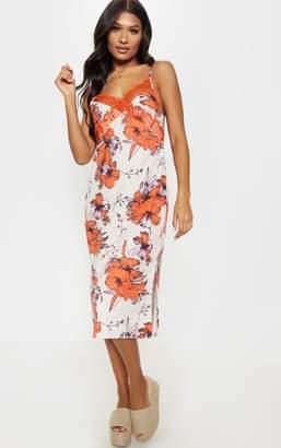 PrettyLittleThing Orange Lace Trim Tropical Print Midi Shift Dress