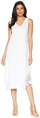 Mod-o-doc Heavier Slub Jersey Midi Tank Dress with Crochet Lace Women's Dress