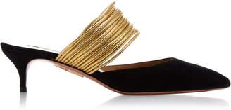 Aquazzura Metallic Cord-Trimmed Suede Mules