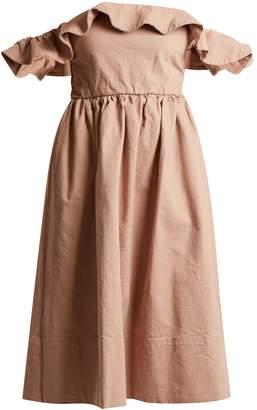 Apiece Apart Novella Maria of-the-shoulder drill dress