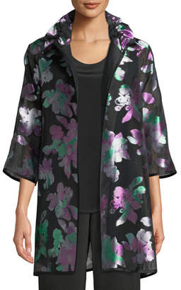 Caroline Rose Passion Flower Devore Silk-Blend Topper, Plus Size