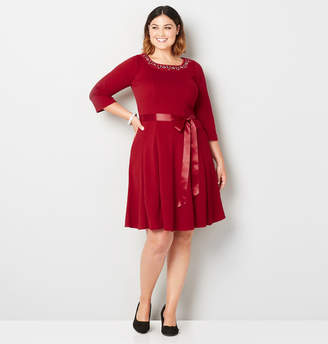 Avenue Jeweled Collar Fit and Flare Dress