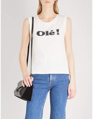 Claudie Pierlot Olé-print sleeveless cotton-jersey top