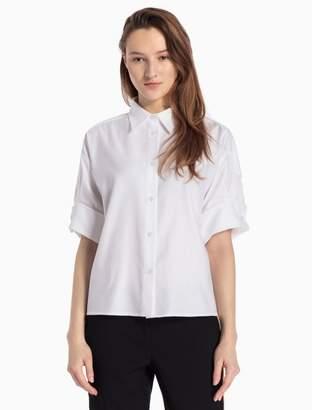 Calvin Klein oxford cuffed short sleeve top