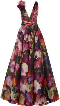 Marchesa Floral Printed Silk Organza A-Line Gown
