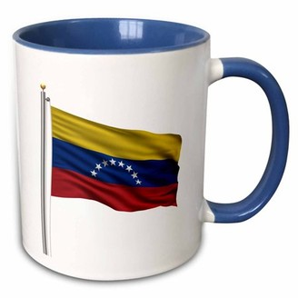 3dRose Flag of Venezuela on a flag pole over white Venezuelan - Two Tone Blue Mug, 11-ounce