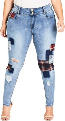 City Chic Patch 'N Check Skinny Jeans