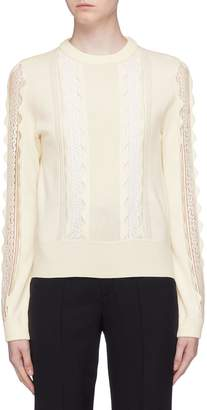 Chloé Lace panel scalloped wool sweater