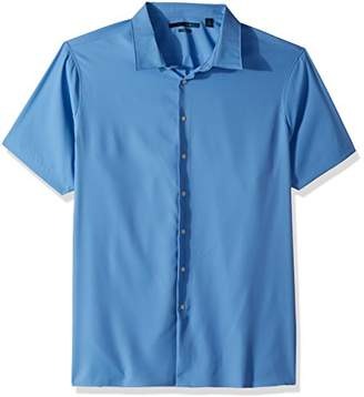 Perry Ellis Men's Big and Tall Short Sleeve Solid Total Stretch Shirt
