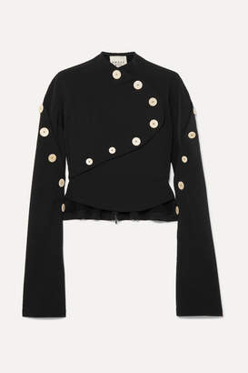 Awake Button-embellished Stretch-crepe Top - Black