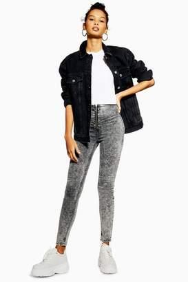 Topshop Womens Washed Black Acid Zip Joni Jeans