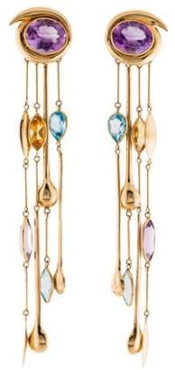 14K Amethyst, Citrine, & Topaz Drop Earrings